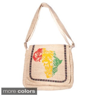 Handmade Jah Lion African Love Hemp Messenger Bag (Nepal)