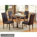 Furniture of America Seline Weathered Elm 5-piece Round Table Dining Set