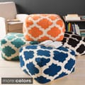 Hand Crafted Morocco Trellis 24-inch Large Square Pouf