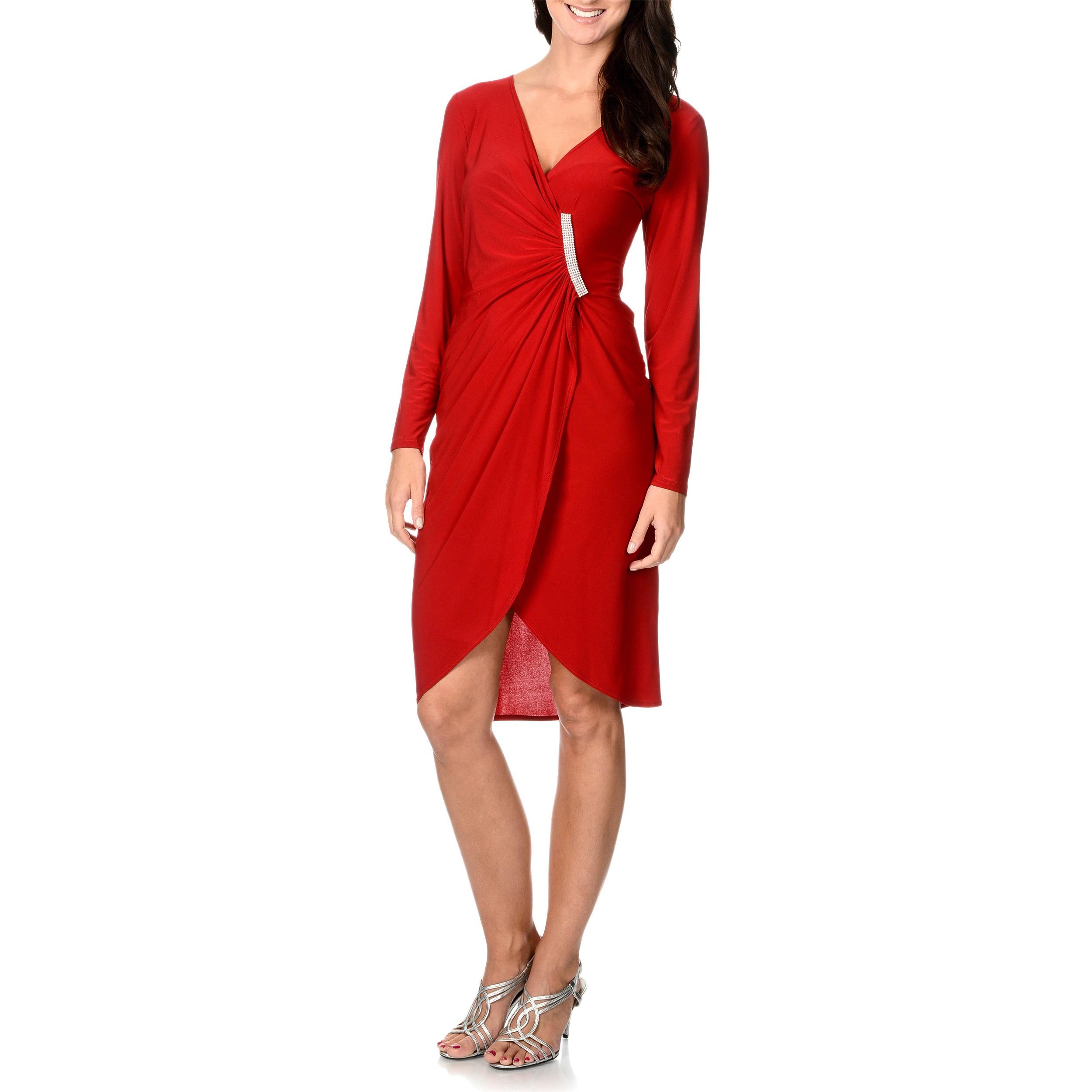 R & M Richards Women's Faux Wrap Rhinestone-strip Tulip Dress