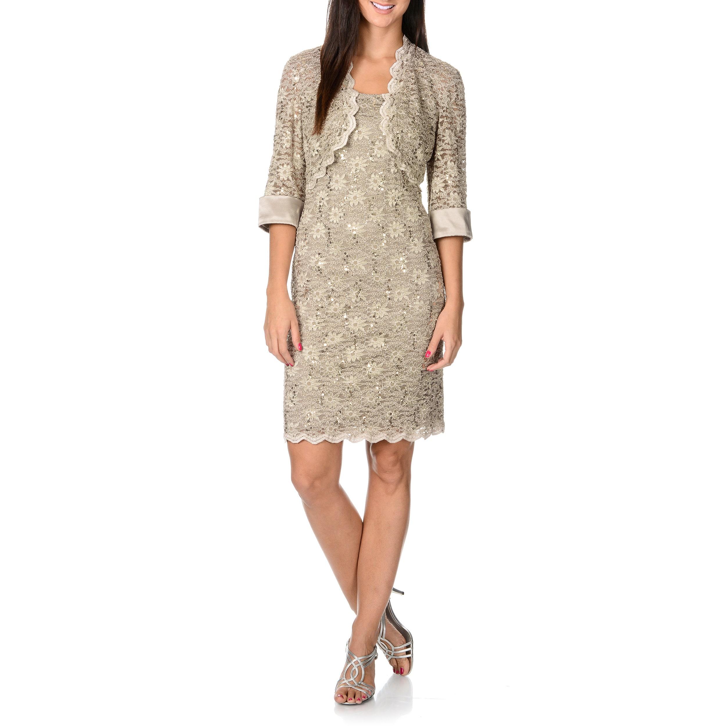 R & M Richards Women's Sequin Lace Dress and Jacket Set