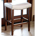 ABBYSON LIVING Monica Pedersen Ivory Leather Counter Stool by