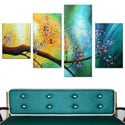 Large Hand Painted Pastel Floral 5-piece Canvas Oil Painting