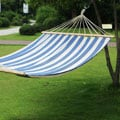 Adeco Two-Person Hammock with Spreader Bar, Blue Stripe, 140-inch Length