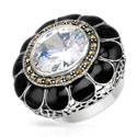 Sterling Silver Cubic zirconia / Marcasites Black Enamel Cocktail Ring