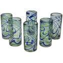 Set of 6 Blown Glass 'Elegant Energy' Highball Glasses (Mexico)