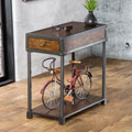 Furniture of America Thornehold Antique Oak Industrial End Table