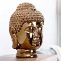 ABBYSON LIVING Ceramic Gold Chrome Buddha Head Statue