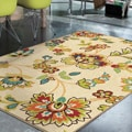 Indoor/ Outdoor Promise Collection Wakeley White Olefin Indoor/Outdoor Area Rug (7'8