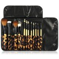 Zodaca Professional Makeup Brushes with Leopard Pouch Bag 12-piece Cosmetic Tool Set