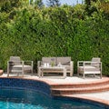 Christopher Knight Home Cape Coral Outdoor Aluminum 4-piece Loveseat Set with Cushions