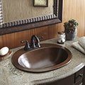 Sinkology Seville Drop-in Copper Bath Sink with 4-inch Faucet Holes and Overflow
