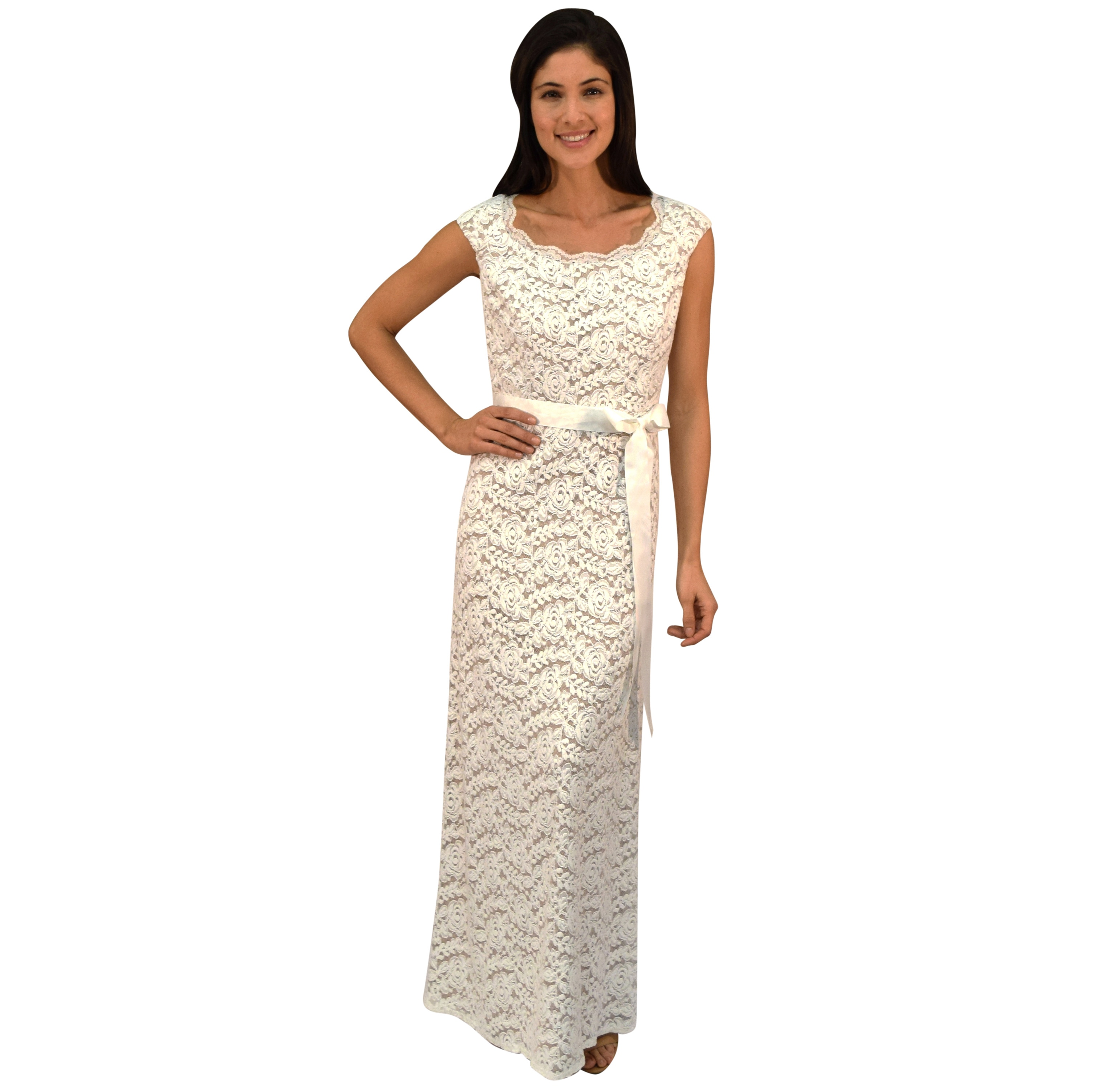 R&M Richards Ivory Lace Sash Evening Gown