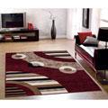 Sweet Home Modern Circles Red 3-piece Area Rug Set (5' x '7 / 1'6 x 4'11 / 1'8 x 2'6)