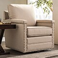 Baxton Studio Ashley Contemporary Beige Fabric Upholstered Swivel Armchair with Bronze Nailheads Trim