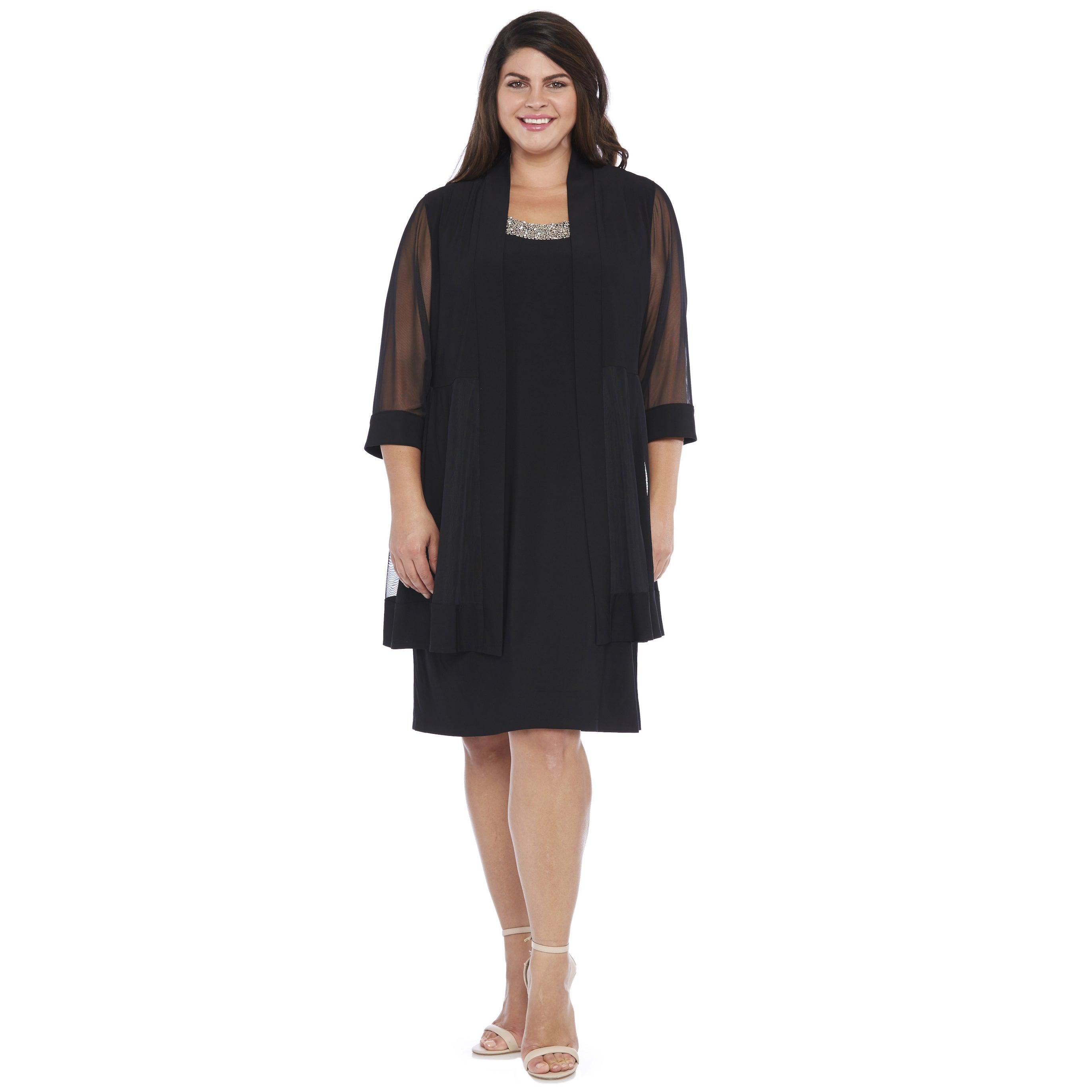 R&M Richards Women's Plus Sheer Jacket Dress
