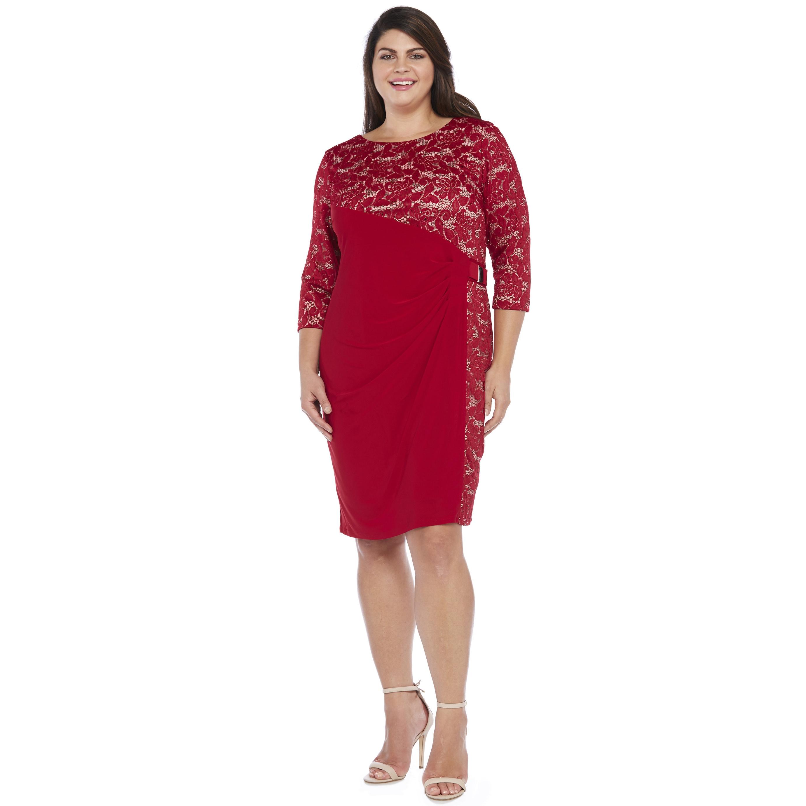R&M Richards Women's Plus Size Side Panel Lace Dress