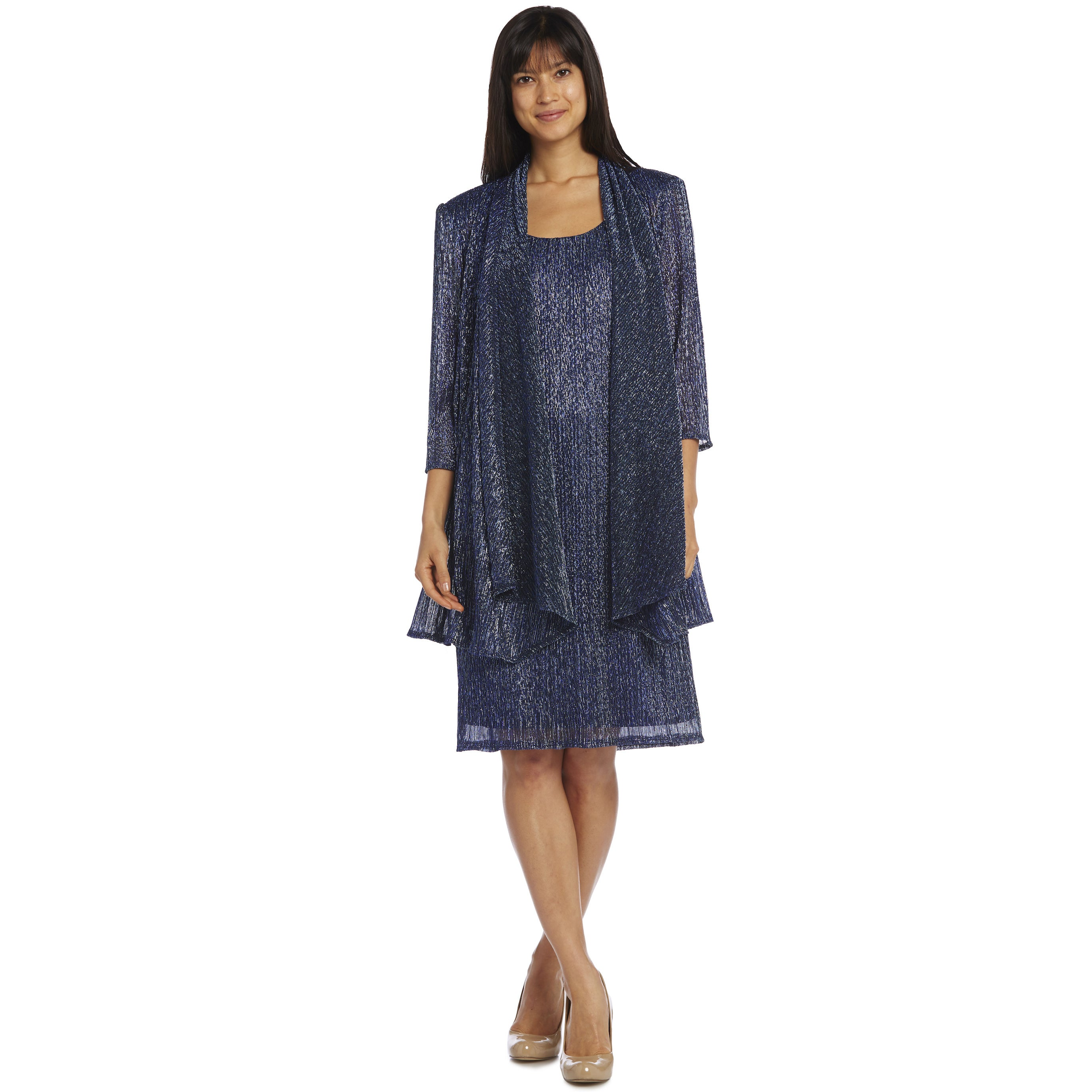 R&M Richards Metallic Knit Jacket Dress