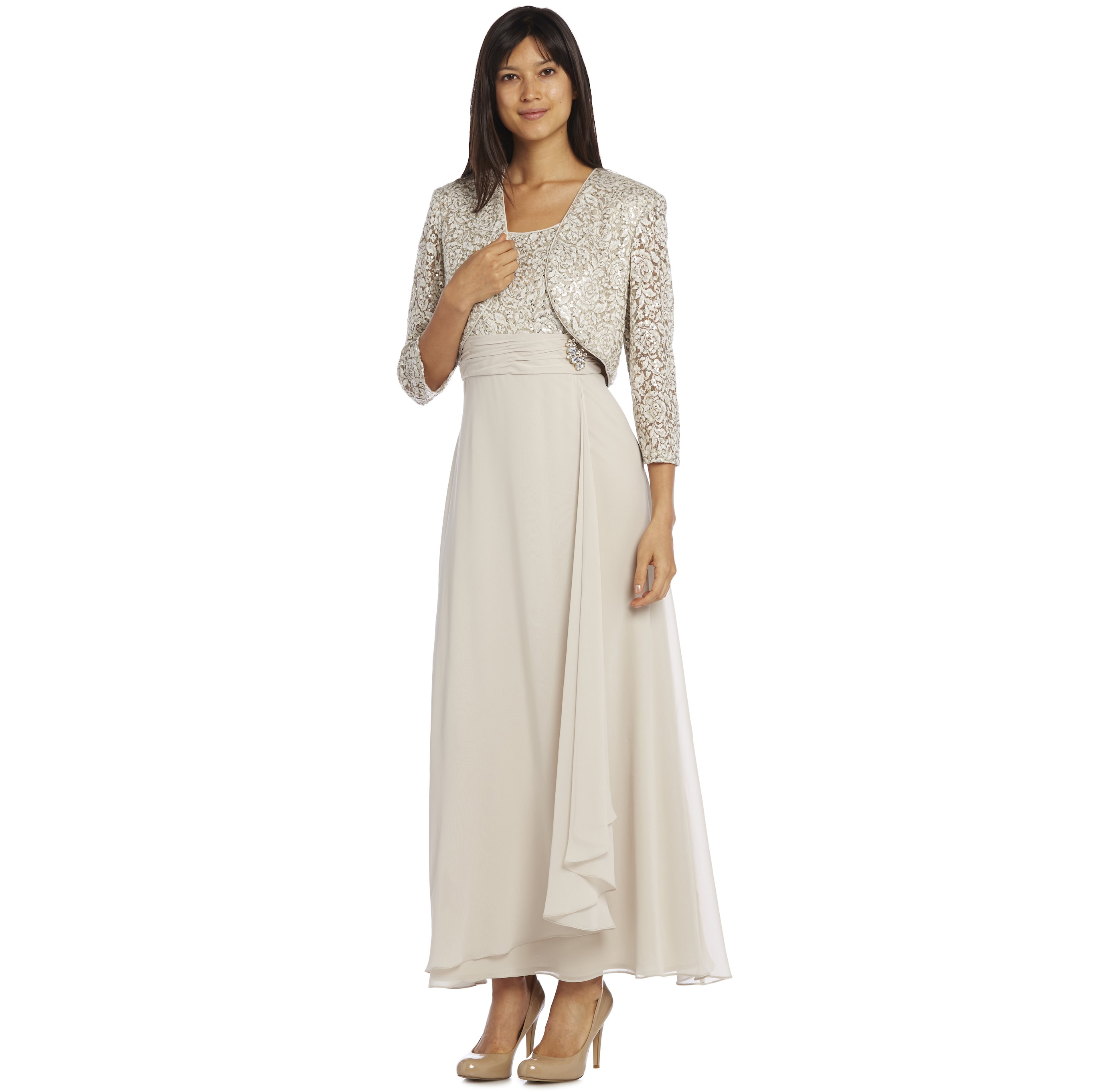 R&M Richards Women's Champagne Long Lace Jacket Dress