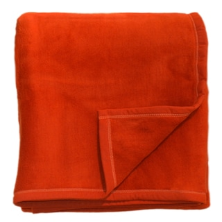 Bocasa Orange Woven 70 x 85 Throw Blanket