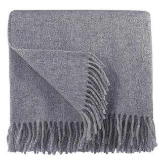 Bocasa Silver Woven Wool Blanket Throw