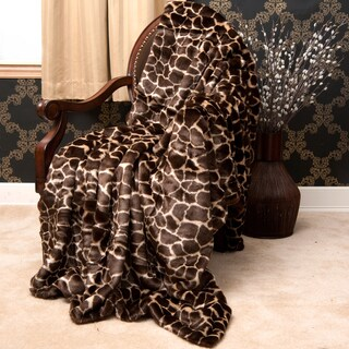 Faux Fur Giraffe Throw Blanket