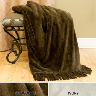 Fringe Faux Seal Fur Throw