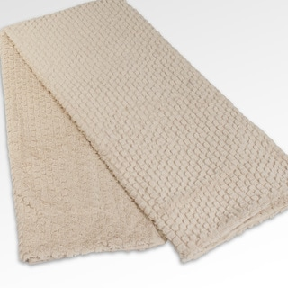 Hannah Plush 50x60-inch Beige Throw