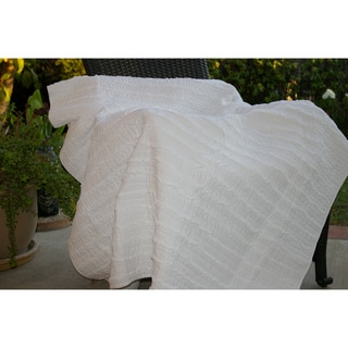 Ruffled White Quilted Throw