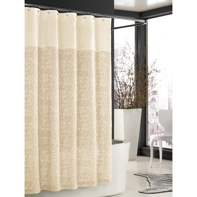 Trump Home Bedminster Scroll Collection Creme Brulee Shower Curtain