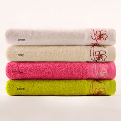 Turkish Cotton Embroidered Bath Towels (Set of 2)