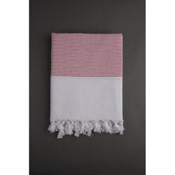 Turkish Cotton Red Stripe Fouta Towel