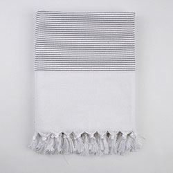 Turkish Grey Stripe Fouta Towel