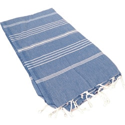 Turkish Striped Dark Blue Fouta Towel