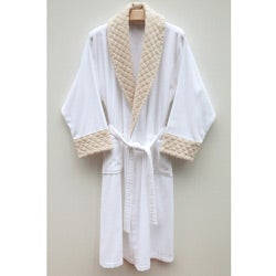 Ultra Plush Authentic Hotel and Spa Unisex Beige Velvet Trim Bathrobe