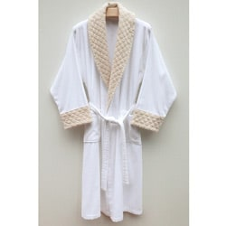 Ultra Plush Authentic Hotel and Spa Unisex Beige Velvet Trim Bath Robe