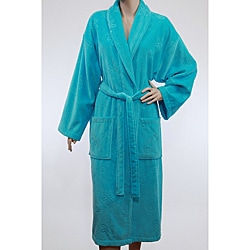 Unisex Turquoise Blue Authentic Hotel Spa Floral Turkish Cotton Bathrobe