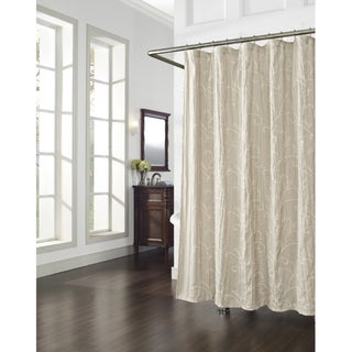 Vinery Embroidery Linen Shower Curtain