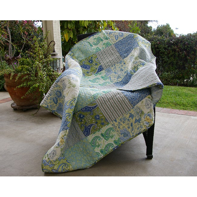 Greenland Home Fashions Vintage Jade Quilted Throw