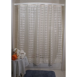 Vision Exchange Sheer Beige Checkered Shower Curtain