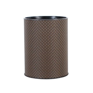 1530 LaMont Home Basketweave Round Chocolate Wastebasket