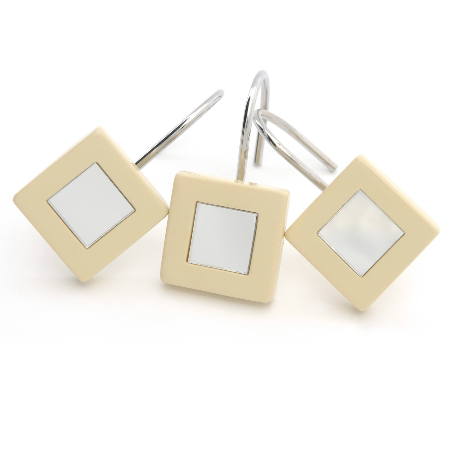 Waverly Sand-colored Mirrored Shower Curtain Hooks (Set of 12 ...
