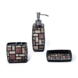 Zen Three-piece Multicolored Smooth Tiled Resin Bath Accessory Set
