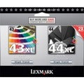 Lexmark No. 43/44 Twin Pack High Yield Black and Color Ink Cartridge