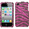 BasAcc Hot Pink/ Black Zebra Skin Diamante Case for Apple iPhone 4S/ 4
