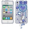 BasAcc Blue Heart Chain 3D Diamante Case for Apple iPhone 4/ 4S