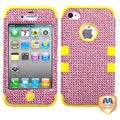 BasAcc Pink Diamante/ Yellow TUFF Hybrid Case for Apple iPhone 4S/ 4