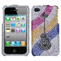 BasAcc Ribboned Guitar Diamante Phone Case for Apple iPhone 4S/ 4