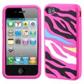 BasAcc Rainbow Zebra/ Hot Pink Pastel Skin Case for Apple iPhone 4S/ 4