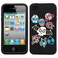 BasAcc Colorful Skulls/ Black/ Pastel Skin Case for Apple iPhone 4S/ 4
